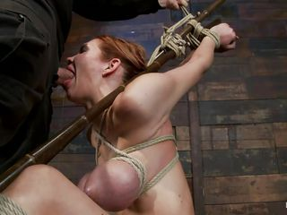 tied bitch getting her beautiful throat stuffed with cock