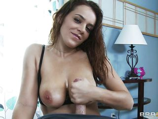 lucky guy gets an erotic handjob after fucking moist pantoons