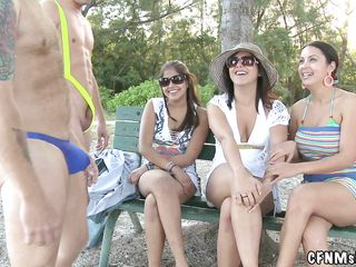 casual dressed milfs and two horny naked men