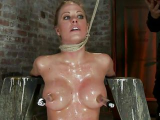 strangulated blonde chick gets a hard weenie in her throat