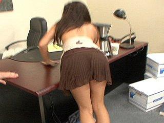 Hawt darksome brown office cutie Ann Marie Rios