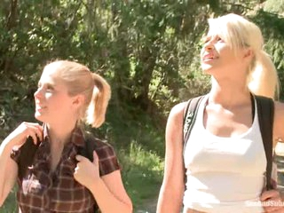 Golden-haired haired tourists Anikka Albright and Penny Pax