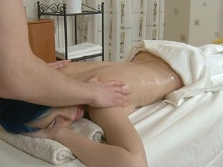 Blue haired angel that is getting her shave love tunnel massaged nicely