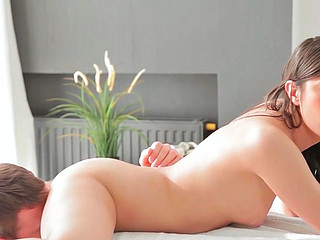 Olga getting brutally group-fucked and receiving sperm on her snatch