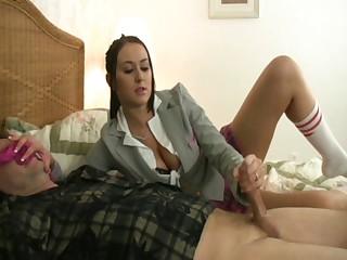 roleplay schoolgirl gives panty sniffer handjob