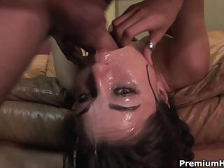 Well known dark-haired haired porn diva Sasha Grey gets her throat screwed highly deep. She gets a mouthful of jizz after coarse face fucking on the couch.
