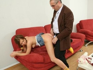 Cute sexy wench receives hardcore with old professor.