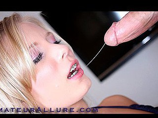 Golden-Haired Legal Age Teenager Wearing Braces Gobbles Down Cum