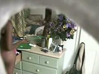 Swarthy gf caught on a hidden webcam