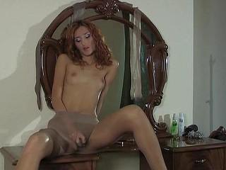 Cora modeling in pantyhose