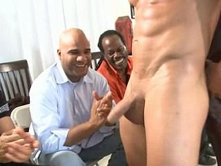 Hard jock in guy's mouth