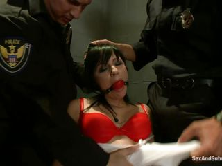 brunette babe dominated and fucked by two cops
