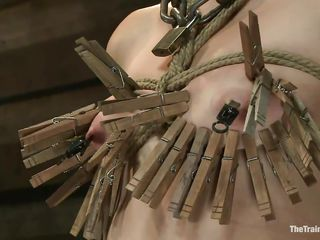 also much clothespins for her tiny tits...