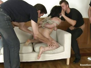 fastened up brunette milf punished and gang gangbanged