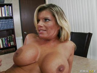 hot blonde large tits being fucked on the table