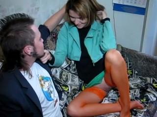Legal Age Teenager in orange stockings takes shlong
