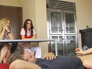 Perverted blonde teacher is making sure that her students are fucking right