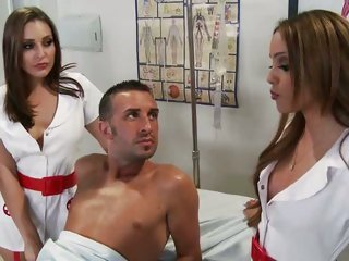 Sexy nurses Melanie Jane & Gracie Glam have a trio