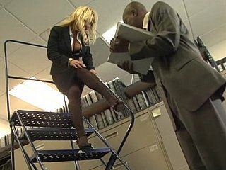 Busty blonde office hotty acquires screwed by black cock
