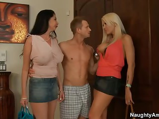 2 milfs. Michelle McLaren and Nadia Night. the one and the other with big boobs and long legs meet Nadia's son's friend at home.  That dude is curious about sex with two busty moms. Lewd big boobed milfs strip. suck and acquire fucked!