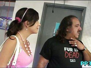 Bawdy naughty girl banged by old man