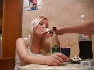 Very drunk russian blond fuck