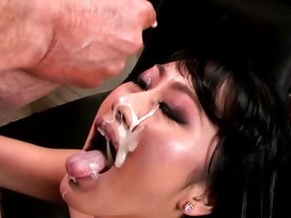 Evelyn Lin gets her face plastered with hot jizz