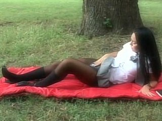 Long haired brunette hair hair schoolgirl acquires fucked in a park