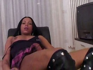 Brunette hair tranny in boots shoves her sucked dick in dude tight asshole.