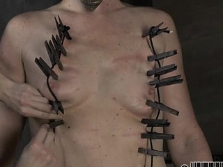 Tough lass receives electrifying castigation for her nipples