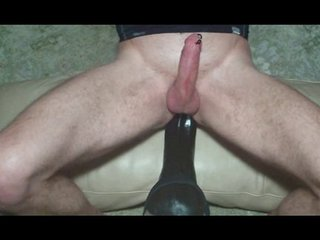 HUGE vibrator anal fuck and cum