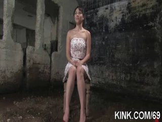 Marvelous sexy babe bound, oiled, punished