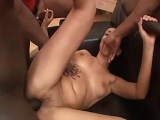 White bitch acquires 3 giant dark cocks in this hot video