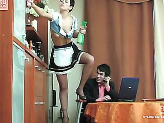 Mima&Vitas nylon footfuck action