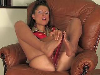 Tina loving her nylon feet