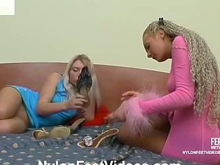 Tessa&Sylvia nasty nylon feet action