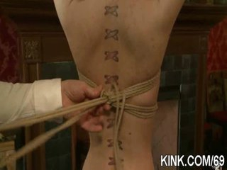 Hot breasty hot beauty in drilled in strict bondage!
