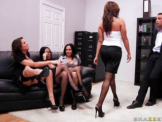 four brunettes start engulfing on their bosses cock