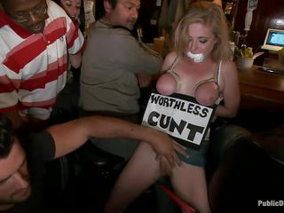 golden-haired worthless cunt fisted in public