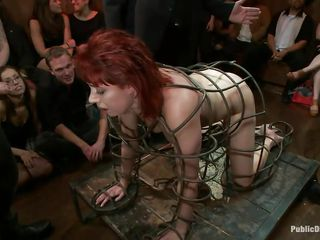 redhead milf in a cage humiliated and screwed