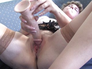slutty grandma masturbating with a big marital-device