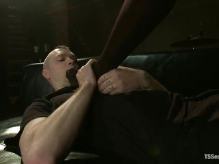 dominating black lady-boy fucking her white sex slave