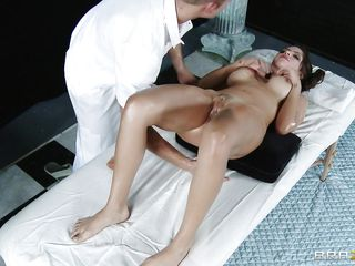 smokin hot brunette getting her love tunnel oiled and massaged