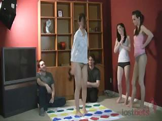 Hot amateurs playing disrobe twister