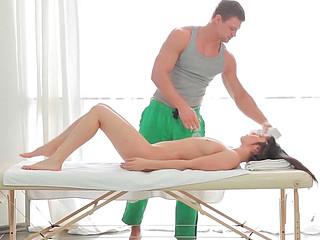 Olga performing incredible oral stimulation to her partner during erotic massage