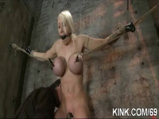 Busty pretty sexy gal receives punished fucked in slavery