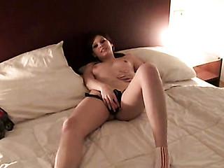 Gal masturbates and fucks