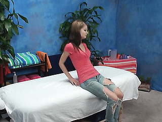 Beautiful girl is drilled well in doggy style after massage