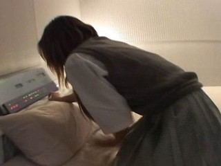 Hot little Asian schoolgirl gets her hands fastened and fucked in the dark