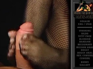 Sexy Latin sweetheart babe Alexis Amore gives a footjob with her feet in fishnets